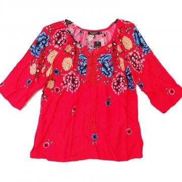 Bluza tip ie cu flori marimi mari Red