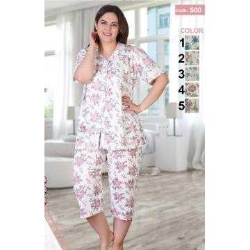 Pijama de vara pe marimi mari cu nasturi