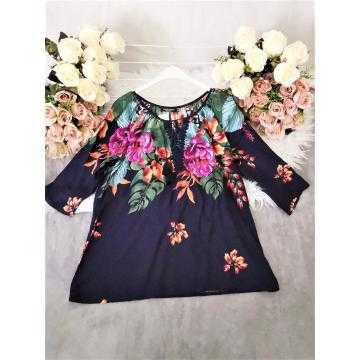 Bluza tip ie cu flori marimi mari Blue Pink