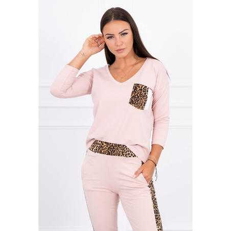 Trening Kessy de damă, bumbac,roz pal, animal print