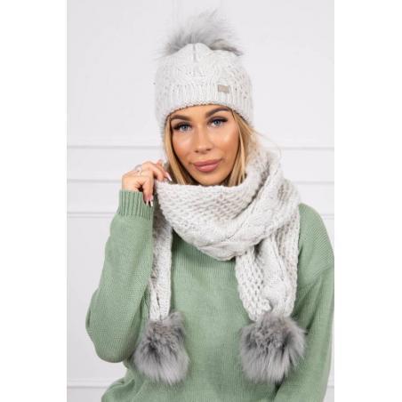 Set tricotat cu fular si caciula Light Grey