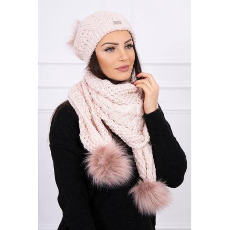 Set tricotat cu fular si caciula White Pink