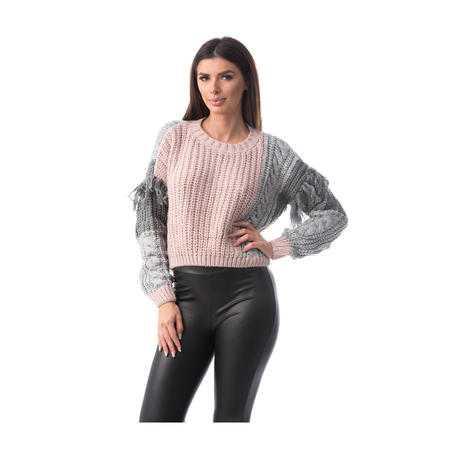Pulover tricotat din lână, roz
