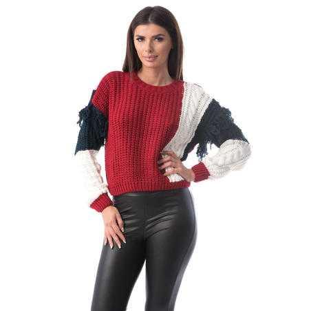 Pulover tricotat din lână, roșu