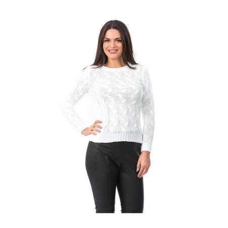 Pulover tricotat alb