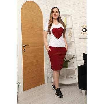 Compleu cu fusta și tricou Love rosu